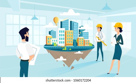 Group architects create and engineering project of city. Team work of cartoon characters. Vector illustration of art idea. Creative people building city of dream.