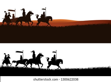 group of armed knights riding horses in the field - medieval heroes panoramic vector silhouette