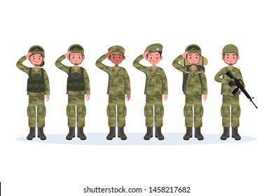 Group of army, men and woman, in camouflage combat uniform saluting. Cute flat cartoon style. Isolated vector illustration.