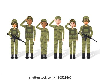 Group of army, military people, man and woman soldiers. Flat design people characters.