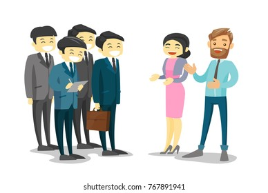 Group of Asian delegates listening to Asian business woman and Caucasian white businessman at the conference. Multiethnic delegates networking during conference. Vector isolated cartoon illustration.
