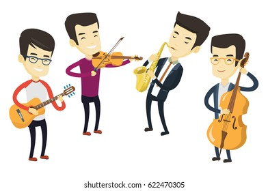 Group of asian musicians playing on musical instruments. Musicians playing on musical instruments. Musicians performing with instruments. Vector flat design illustration isolated on white background.