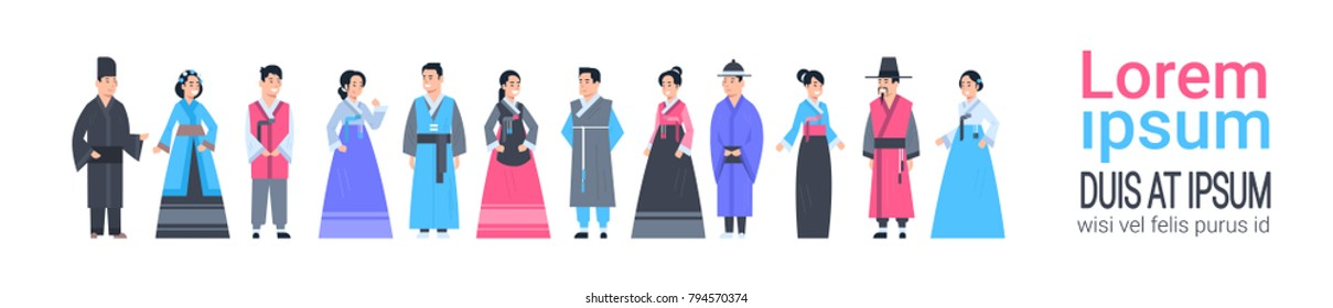 Group Of Asian People In Traditional Clothes Women And Men Dressed In Ancient Costumes Horizontal Banner With Copy Space Flat Vector Illustration
