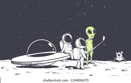 group of astronauts photographs himself with an alien .Space friends.Vector illustration