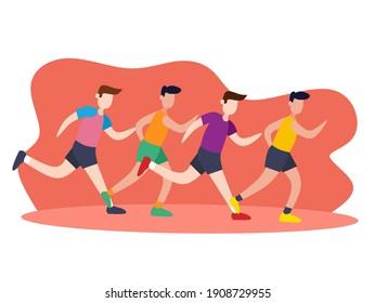 Group of athlete sportmen team run marathon distance. Sport jogging. Running championship. Flat vector illustration