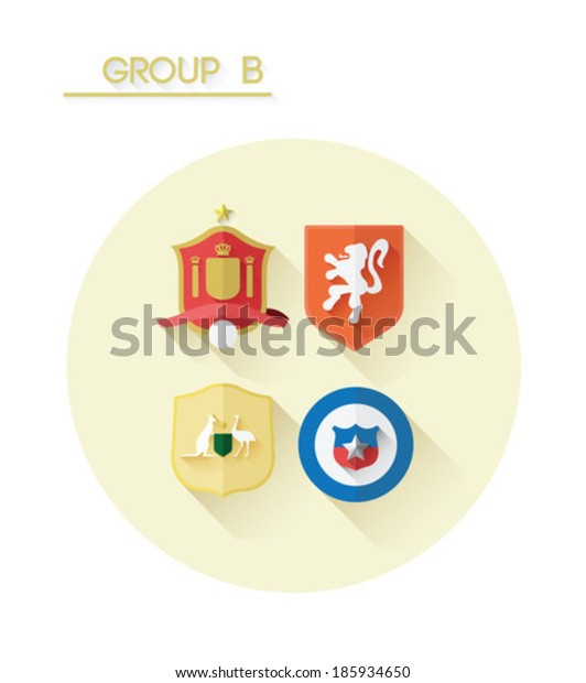 Group b with country crests on white background