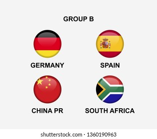 group B of nation flag in badge icon. Concept for team that qualified to final round of women soccer or sport tournament. Vector illustrative