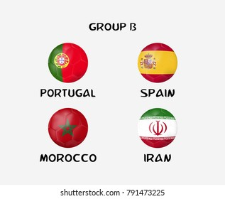 group B of nation flag in ball icon. Concept for soccer team that qualified to final round of football tournament in Russia. Vector illustrative