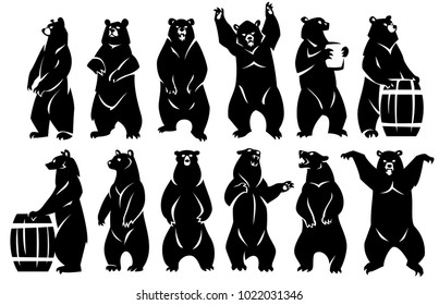 A group of bears stand on their hind legs. Two bears with barrels. Black silhouette. Isolated on a white background.