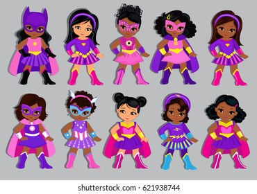 Group of beautiful multicultural girls dressed in suits of superheroes.