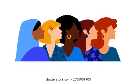 Group of beautiful women with different beauty, hair and skin color. The concept of women, femininity, diversity, independence and equality.  - Shutterstock ID 1766939903
