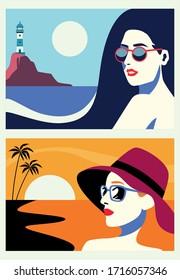 group of beautiful women in seascape flat scenes vector illustration design