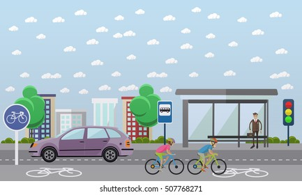 Group of bicycle riders on bikes on road. Street with bicycle line. Biking sport concept cartoon banners. Vector illustration in flat style design.