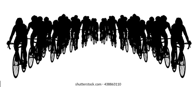 Group of bicyclists in race riding a bicycle isolated against white background silhouette vector illustration. Sport tourist company friends on bicycles . Biker crew people, mountainbike. Friendship.