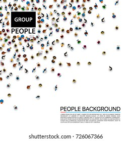 Group big people crowd on white background. Vector illustration.