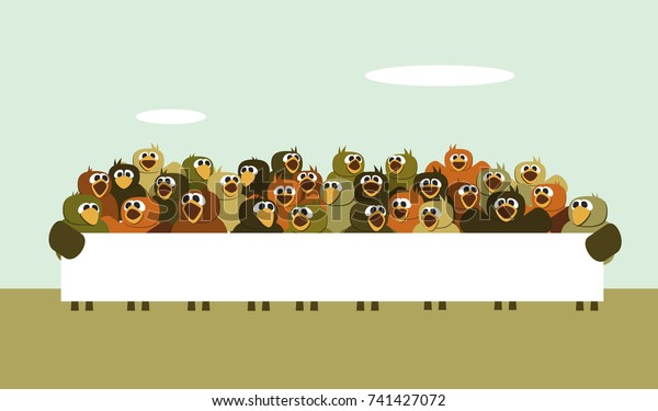 Group Birds Holding Banner Stock Vector Royalty Free 741427072