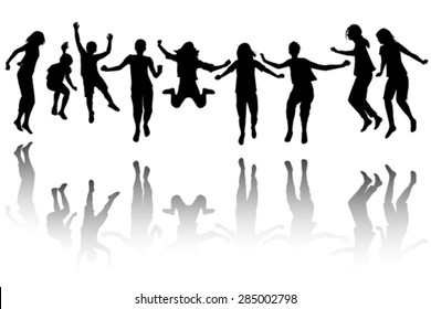 Group of black children silhouette jumping