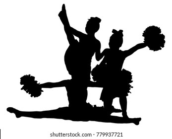 Group of black silhouettes of girls on cheerleading on a white background. Team, support group. Sports, cheerleading, split.