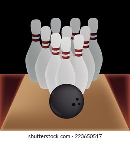 a group of bowling pins and a ball on a black background