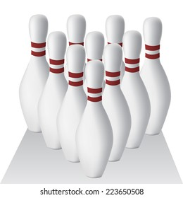 a group of bowling pins with shadow on a white background