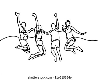 Group of boys and girls jumping. Continuous line drawing. Vector illustration.