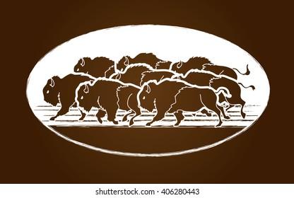 Group of buffalo graphic vector