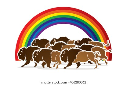 Group of buffalo running designed on line rainbows background graphic vector