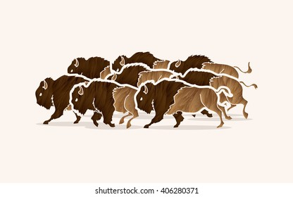 Group of buffalo running designed using grunge brush graphic vector