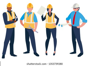 group of builders working