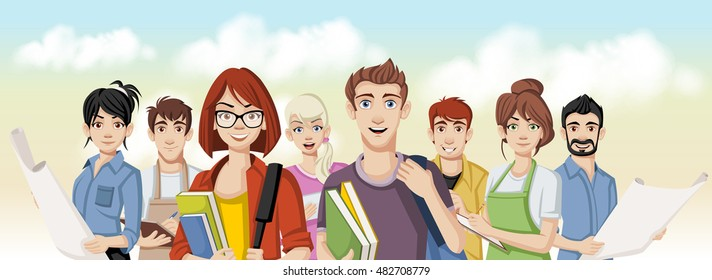 Group of business cartoon young people