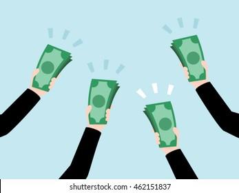 Group of Business Hand Holding Money, Bidding Auction Concept, Raise Money