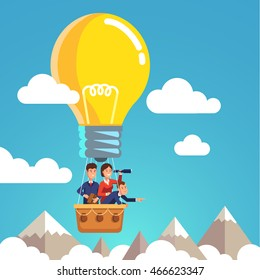 Group of business man and woman flying in the sky on hot air balloon and planning ahead. Looking through spyglass over mountain peaks. Idea concept. Flat style vector illustration.