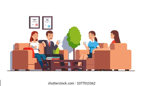 Group of business man & woman sitting in armchairs, sofa at coffee table in office lobby or clinic waiting room. Modern business interior design. Flat vector characters illustration isolated on white