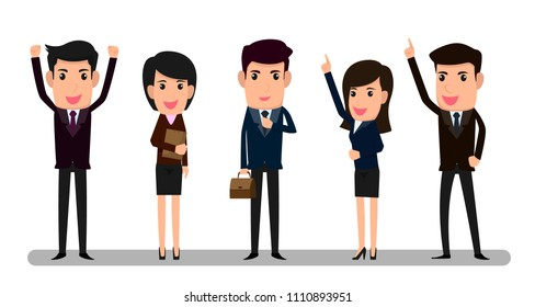 Group of business man and woman vector illustration. handsome businessman and smart in smile character.