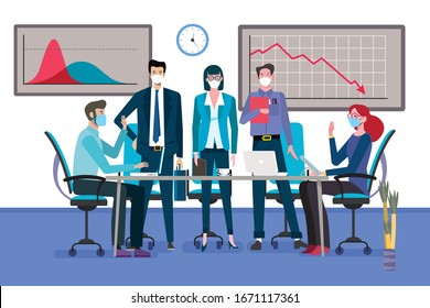 Group of business men and women as a teamwork standingarround a meeting table with face mask. Graph showing business decline for the coronavirus. Vector illustration.