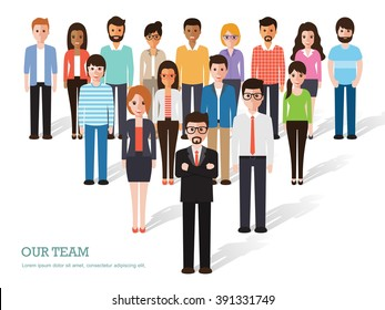Group of business men and women, working people on white background. Business team and teamwork concept. Flat design people characters.