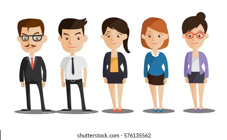 Group of business men and women, working people on white background.
