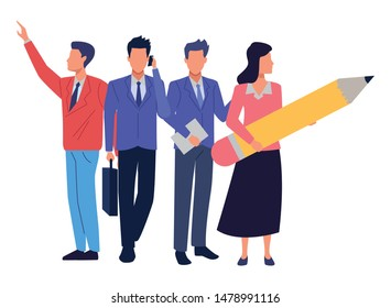 Group of business partners with business and symbols, executive entrepreneur teamwork ,vector illustration graphic design.