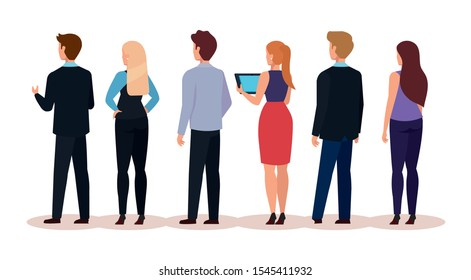 group business people of back avatar character vector illustration design