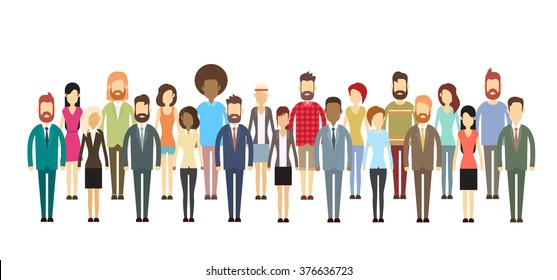 Group of Business People Big Crowd Business people Mix Ethnic Flat Vector Illustration