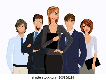 Group of business people busines woman with team isolated on white vector illustration