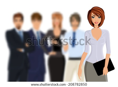 Group of business people busines woman with business team isolated on white vector illustration