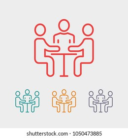 A group of business people, businessmen communicate at a table. Vector icon