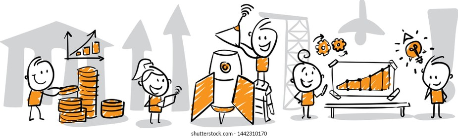 group of business people discussing work strategy. Doodle style vector illustration object isolated hand draw. Line art cartoon design character