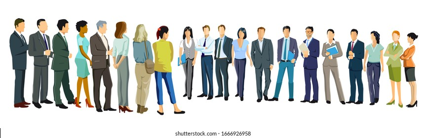 a group of business people face each other