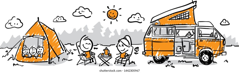 Group of business people going to vacation, camp. Doodle style vector illustration object isolated hand draw. Line art cartoon design character