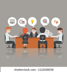 Group of business people having a meeting around a conference table