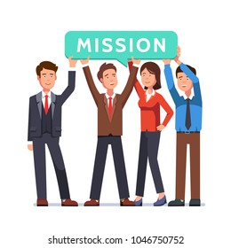 Group of business people holding mission speech bubble. Business man & woman company team showing sign with word mission on it. Flat style vector illustration isolated on white