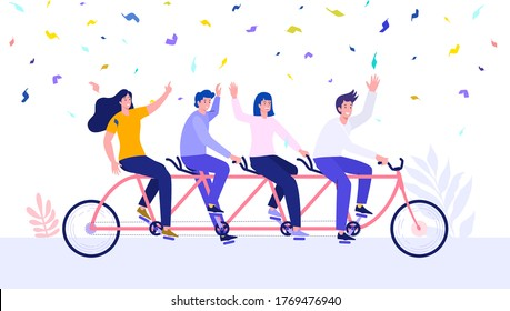Group of business people riding together with tandem bike and get achievment vector illustration concept, can use for, landing page, template, ui, web, homepage, poster, banner, flyer