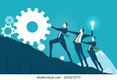 Group of business people rolling ip the gear, towards the top of the mountain. Risky situation which might bring winning. Business success concept